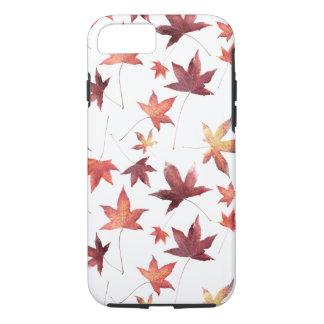 Autumn Scene Dead Leaves Customizable White BG iPhone 7 Case