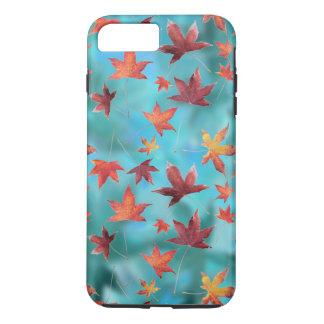 Autumn Scene Dead Leaves over Turquoise iPhone 8 Plus/7 Plus Case