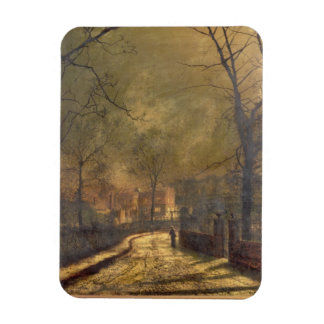 Autumn Scene, Leeds, 1874 (oil on board) Rectangular Photo Magnet