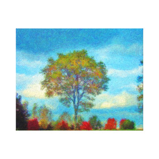 Autumn Scene Reds With  Blue Skies Canvas Print