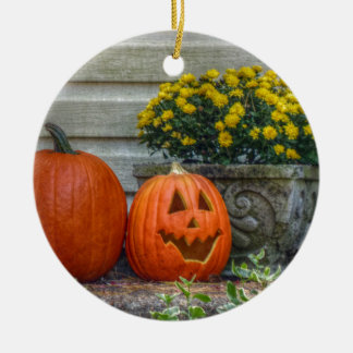 Autumn Scene Round Ceramic Ornament