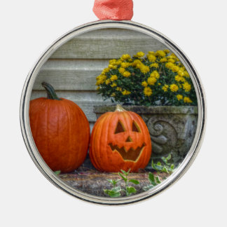 Autumn Scene Silver-Colored Round Ornament