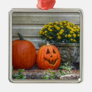 Autumn Scene Silver-Colored Square Ornament