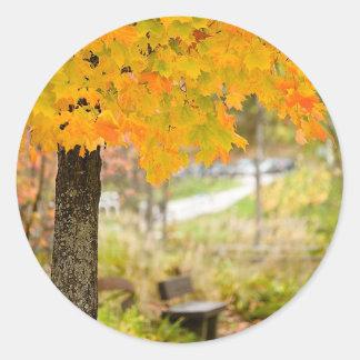 Autumn Scene Round Stickers