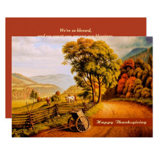 Autumn Scenery Design Thanksgiving Invitations