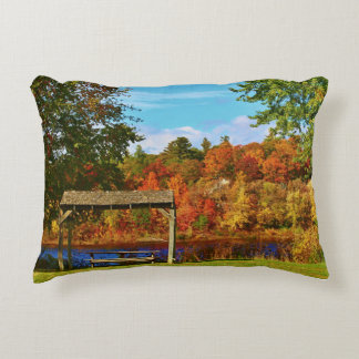 Autumn Scenery in Brewer, Maine 2015 Decorative Pillow