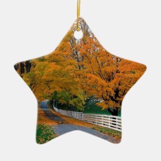 Autumn Scenic Backroad New Hampshire Ceramic Star Ornament