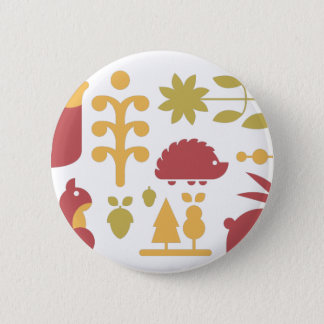 Autumn seamless pattern with cute cartoon forest a 2 inch round button