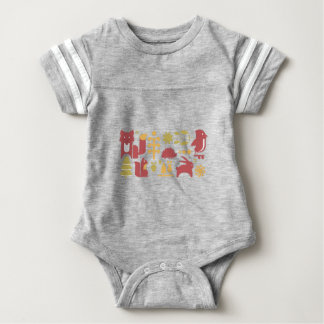 Autumn seamless pattern with cute cartoon forest a baby bodysuit