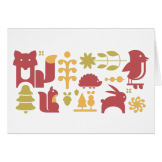 Autumn seamless pattern with cute cartoon forest a card
