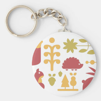 Autumn seamless pattern with cute cartoon forest a keychain