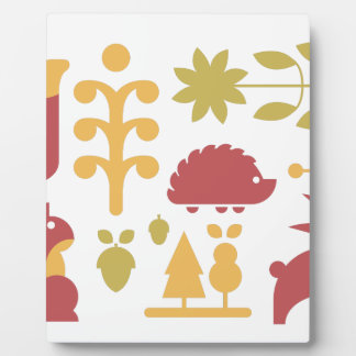 Autumn seamless pattern with cute cartoon forest a plaque