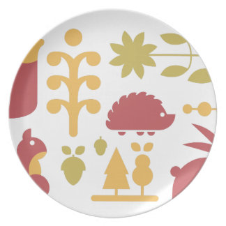 Autumn seamless pattern with cute cartoon forest a plate