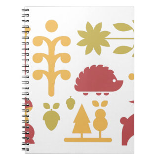 Autumn seamless pattern with cute cartoon forest a spiral notebook