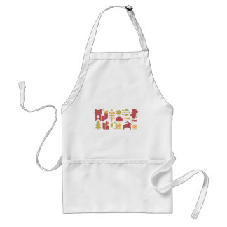 Autumn seamless pattern with cute cartoon forest a standard apron