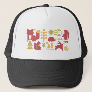 Autumn seamless pattern with cute cartoon forest a trucker hat