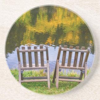 Autumn Season Romantic Lake View For Two Drink Coaster