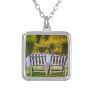 Autumn Season Romantic Lake View For Two Silver Plated Necklace
