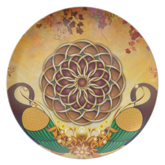 Autumn Serenade (Mandala of the Two Peacocks) Party Plates