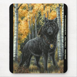 Autumn Shadow Black Wolf Mousepad