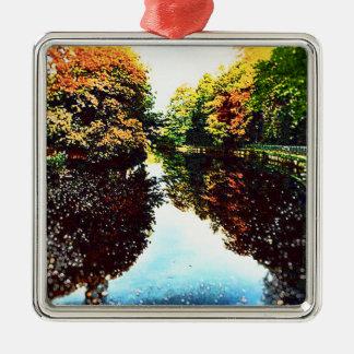 Autumn Silver-Colored Square Ornament