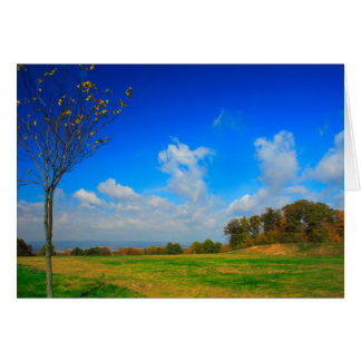"""Autumn Sky"" Blue Clouds Fall [Blank Inside] Card"