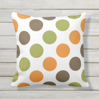 Autumn Spice Polka Dots Outdoor Pillow