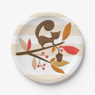Autumn Squirrel on a branch Thanksgiving plates