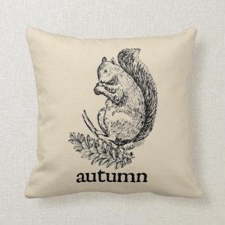 Autumn Squirrel Vintage Style Farmhouse Pillow