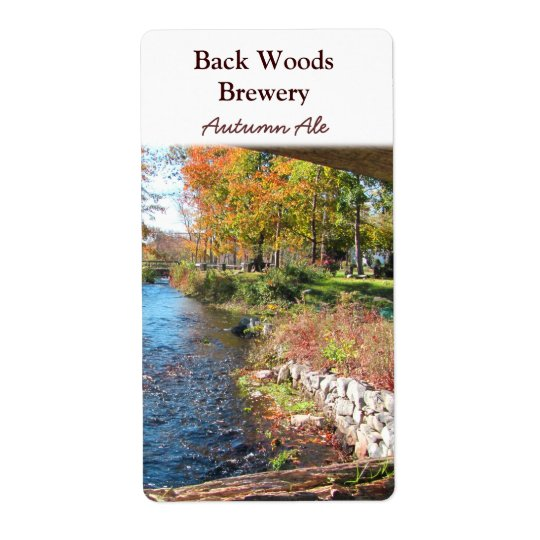 Autumn Stream ~ Beer Wine Label