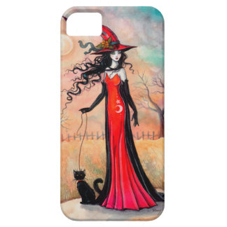 Autumn Stroll Halloween Witch Black Cat Art iPhone 5 Cover