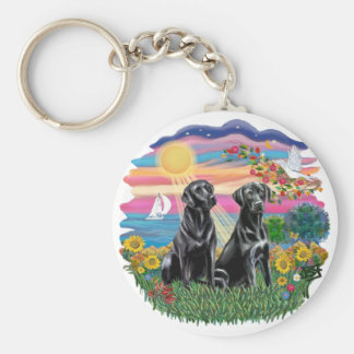 Autumn Sun - Two Black Labs Keychain