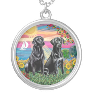 Autumn Sun - Two Black Labs Silver Plated Necklace