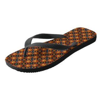Autumn Sunburst Pattern Flip Flops