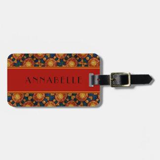 Autumn Sunburst Pattern Personalized Luggage Tag