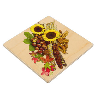 Autumn Sunflower and Corn Bouquet Maple Wood Coaster
