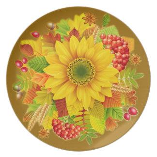 Autumn sunflower dinner plate