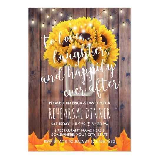 Autumn Sunflower Jar Fall Wedding Rehearsal Dinner Card