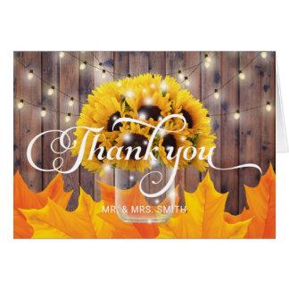 Autumn Sunflower Jar Rustic Wedding Thank You Card