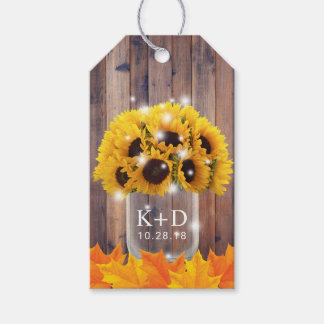 Autumn Sunflower Jar String Lights Rustic Wedding Gift Tags