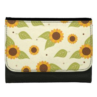 Autumn Sunflower Pattern Leather Wallets