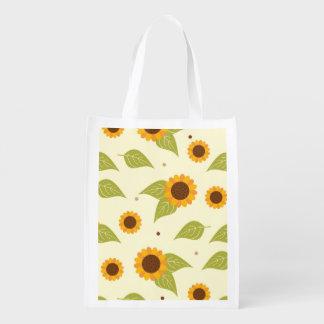 Autumn Sunflower Pattern Market Totes