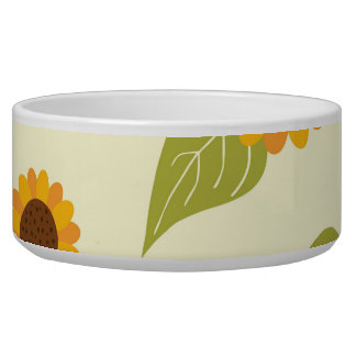 Autumn Sunflower Pattern Pet Bowl