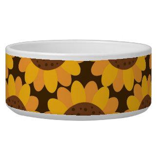 Autumn Sunflower Pattern Pet Food Bowl