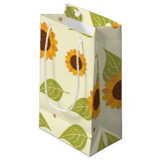 Autumn Sunflower Pattern Small Gift Bag