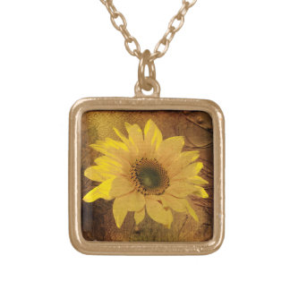 Autumn sunflower square pendant necklace