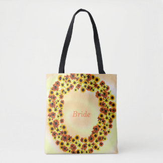 Autumn Sunflowers Wreathe Bride Tote Bags