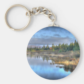 Autumn Sunrise at Moosehead Lake Maine Basic Round Button Keychain