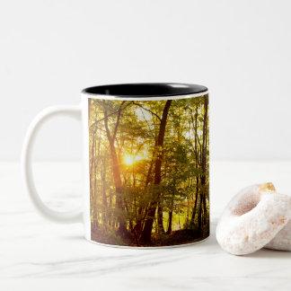 Autumn Sunrise in a Forest Two-Tone Coffee Mug