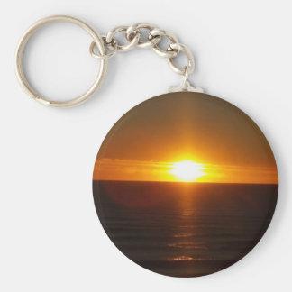 Autumn Sunrise Basic Round Button Key Ring